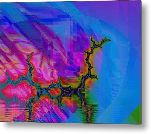 Fractal Metal Print featuring the digital art The Crawling Serpent by Frederic Durville