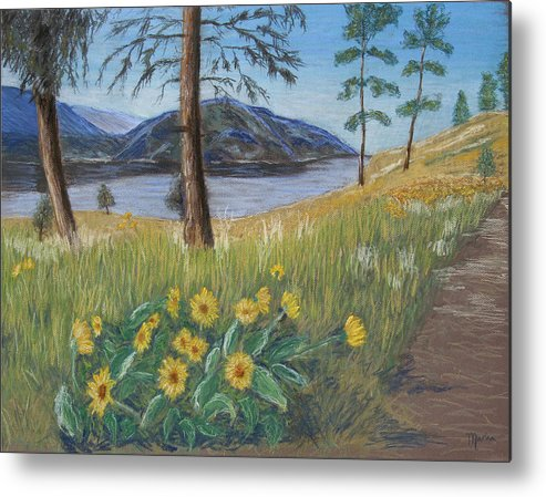 Lake View Metal Print featuring the painting The Lake Trail by Marina Garrison