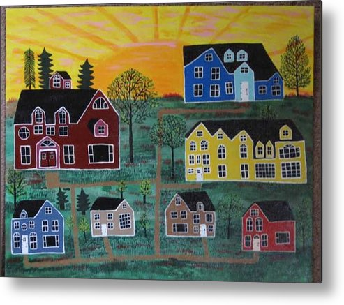 Sunshine Metal Print featuring the painting The Pines at Altonshine Sky by Mike Filippello