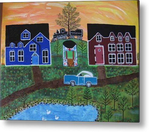 Folk Art Village With Car Metal Print featuring the painting The Train at Galakendra's Elm by Mike Filippello