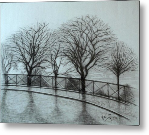 Paris Metal Print featuring the drawing The trees by Sacre-Coeur in Montmartre by Raimonda Jatkeviciute-Kasparaviciene