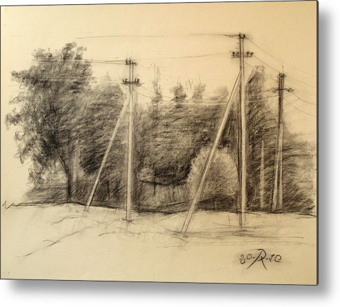 Drawing Metal Print featuring the drawing The view of the village by Raimonda Jatkeviciute-Kasparaviciene