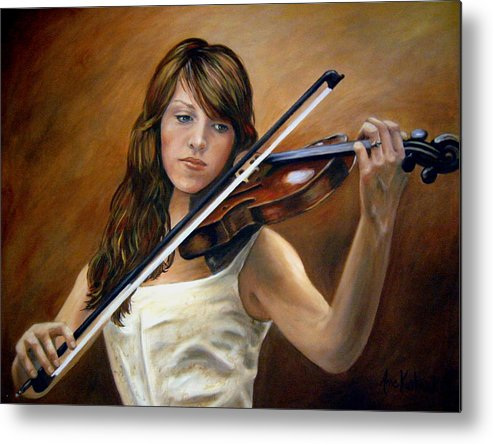 Portrait Metal Print featuring the painting The Violinist by Anne Kushnick