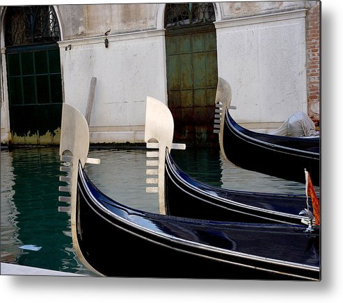 Three Gondolas Metal Print featuring the photograph Three Gondolas by Nancy Bradley