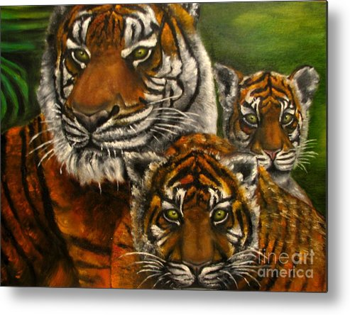 Animals Metal Print featuring the painting Tigers family oil painting by Natalja Picugina