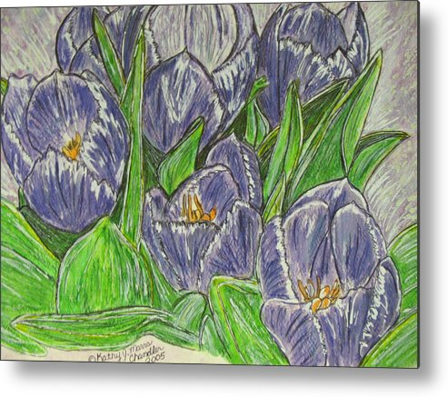 Tulips Metal Print featuring the painting Tulips in the Spring by Kathy Marrs Chandler