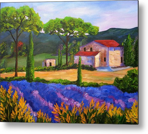 Landscape Metal Print featuring the painting Tuscany Villa by Mary Jo Zorad