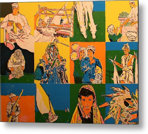 Metal Print featuring the painting Twelve scened from Middle east by Biagio Civale