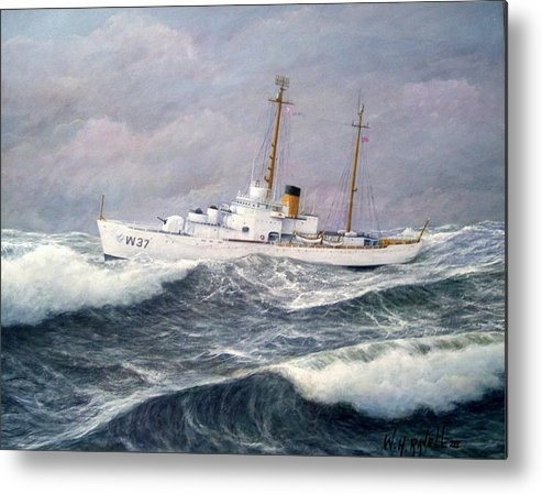 Ships Metal Print featuring the painting U. S. Coast Guard Cutter Taney by William H RaVell III