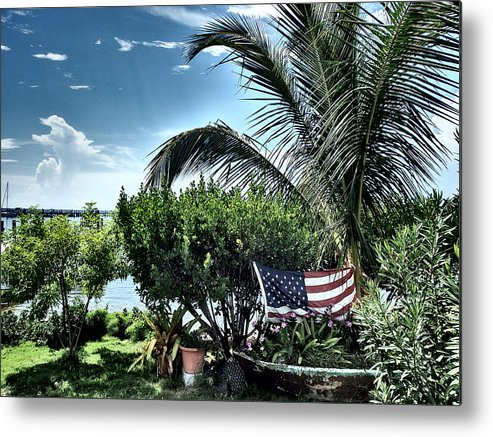 Amerian Flag Metal Print featuring the photograph US Flag in the Abaco Islands, Bahamas by Cindy Ross