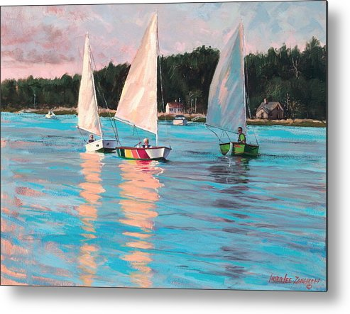 Actrylic Painting Metal Print featuring the painting View From Rich's Boat by Laura Lee Zanghetti