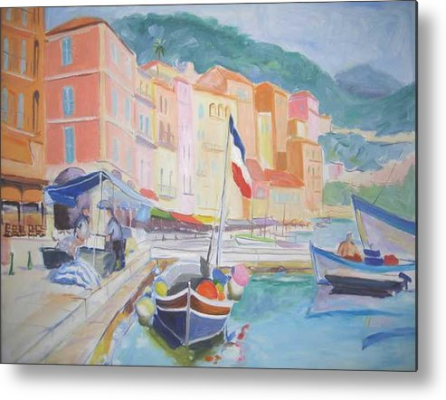 Oil Metal Print featuring the painting Ville Franche Boat by Pixie Glore