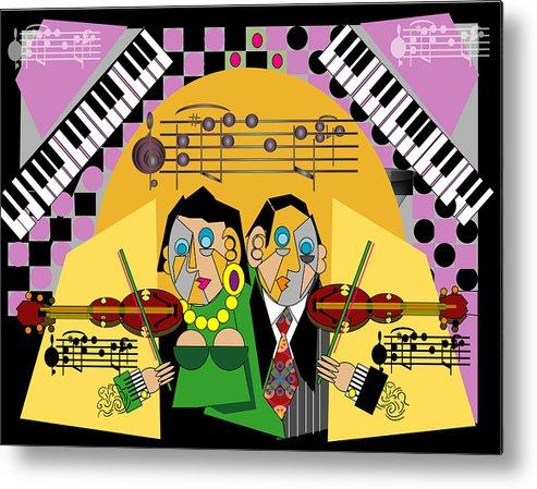 Music Metal Print featuring the digital art Violin Duets by George Pasini