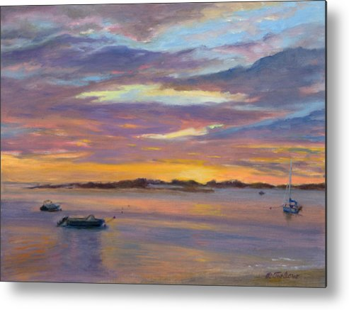 Landscape Metal Print featuring the painting Wades Beach Sunset by Phyllis Tarlow