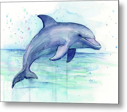 Dolphin Metal Print featuring the painting Watercolor Dolphin Painting - Facing Right by Olga Shvartsur