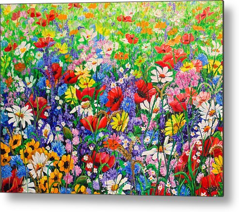 Wild Flowers Metal Print featuring the painting Wild Flower Meadow by Karin Dawn Kelshall- Best