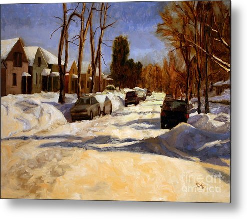 Snow Metal Print featuring the painting Winter in the Highlands by Tate Hamilton