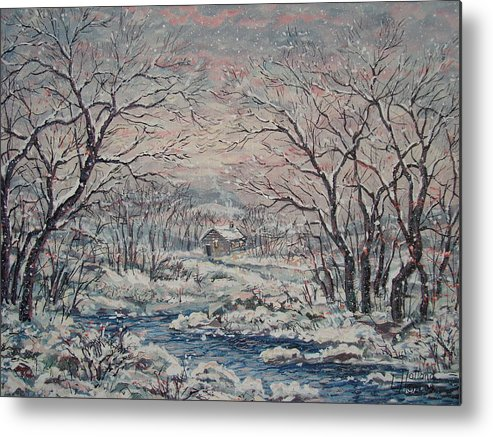 Landscape Metal Print featuring the painting Wintery December by Leonard Holland