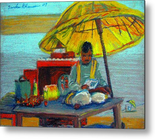 India Metal Print featuring the pastel Yellow Umbrella by Art Nomad Sandra Hansen