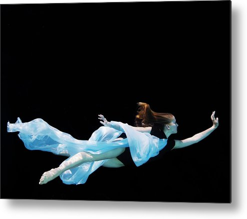 Ballet Dancer Metal Print featuring the photograph Female Dancer Underwater Against Black by Thomas Barwick