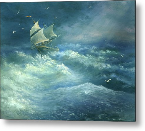 Curve Metal Print featuring the digital art Heavy Gale by Pobytov