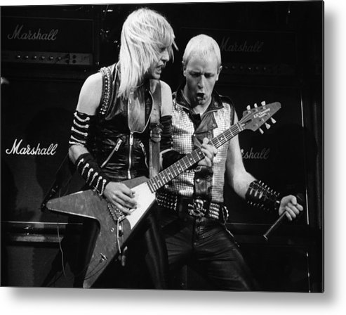 K.k. Downing Metal Print featuring the photograph Photo Of Judas Priest And Rob Halford by Pete Cronin