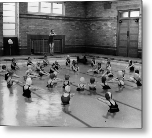 Crowd Metal Print featuring the photograph Swimming Lesson by Fox Photos
