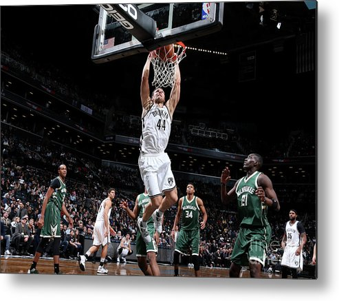 Nba Pro Basketball Metal Print featuring the photograph Milwaukee Bucks V Brooklyn Nets by Nathaniel S. Butler