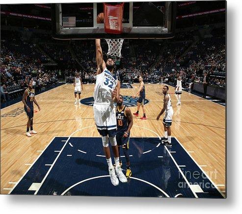 Nba Pro Basketball Metal Print featuring the photograph Utah Jazz V Minnesota Timberwolves by David Sherman