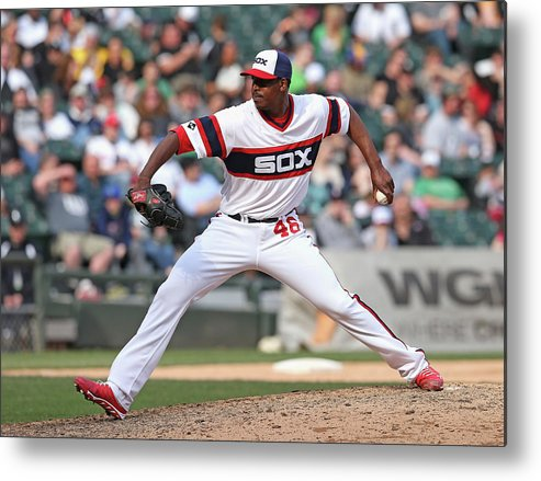 American League Baseball Metal Print featuring the photograph Cleveland Indians V Chicago White Sox by Jonathan Daniel