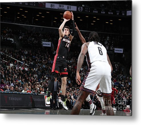Tyler Herro Metal Print featuring the photograph Miami Heat V Brooklyn Nets by Nathaniel S. Butler