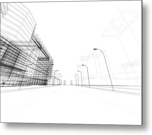 Three Dimensional Metal Print featuring the photograph 3d Architecture Abstract by Nadla