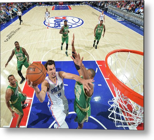 Nba Pro Basketball Metal Print featuring the photograph Philadelphia 76ers V Boston Celtics by Jesse D. Garrabrant