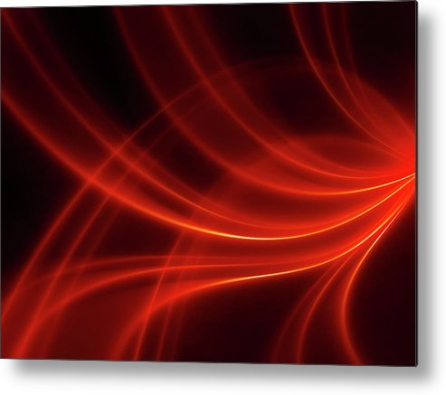 Three Dimensional Metal Print featuring the photograph Abstract Red Dynamic Lines Backgrounds by Hh5800