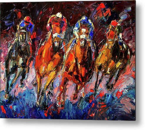 Horse Race Metal Print featuring the painting Adrenalin by Debra Hurd
