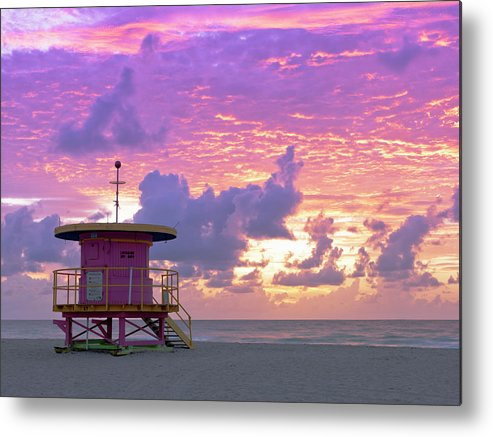 Outdoors Metal Print featuring the photograph Art Deco Style Lifeguard Station At by Cosmo Condina