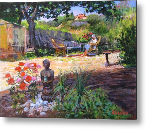 California Metal Print featuring the painting Ava's Garden, San Diego by Peter Salwen