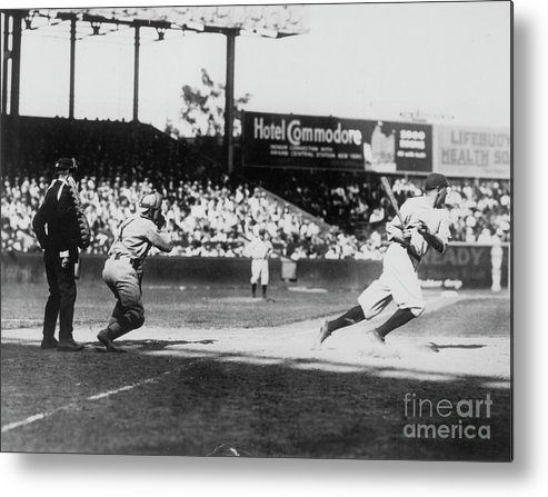 American League Baseball Metal Print featuring the photograph Babe Ruth Smashing 1920 by Transcendental Graphics
