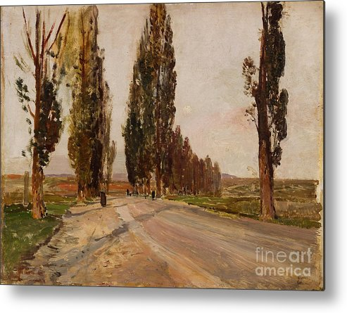 Painted Image Metal Print featuring the drawing Boulevard Of Poplars Near Plankenberg by Heritage Images