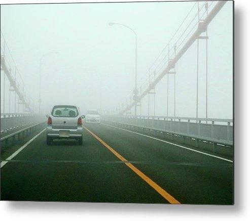 Dawn Metal Print featuring the photograph Car Crossing Bridge by Kurosaki San