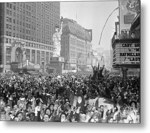 Crowd Of People Metal Print featuring the photograph Celebrants In Times Square On V-e Day by Bettmann