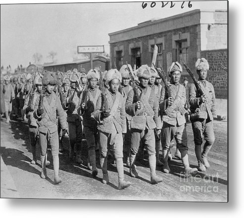 Marching Metal Print featuring the photograph Chinese Soldiers Marching With Weapons by Bettmann