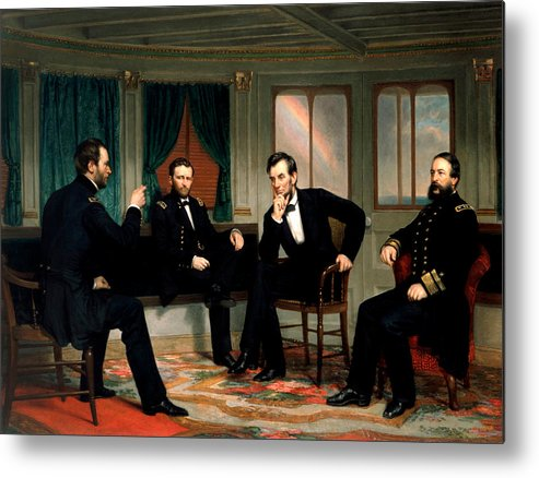 Civil War Metal Print featuring the painting Civil War Union Leaders - The Peacemakers - George P.A. Healy by War Is Hell Store