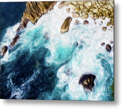 Cliffs In Alcapulco Metal Print featuring the digital art Cliffs in Acapulco Mexico II by Kenneth Montgomery