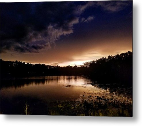 Sunset Metal Print featuring the photograph Dark Reflections by Shena Sanders