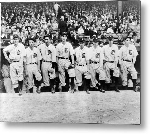 People Metal Print featuring the photograph Detroit Tigers 1935 Pitching Staff At by Fpg