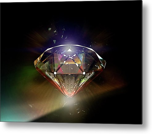 Black Background Metal Print featuring the photograph Diamond 02 by Mina De La O