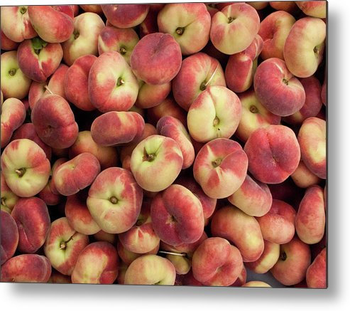 Retail Metal Print featuring the photograph Donut Peaches At A Farmers Market by Bill Boch