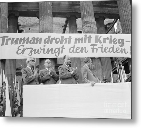 People Metal Print featuring the photograph East German Ministers Applauding by Bettmann