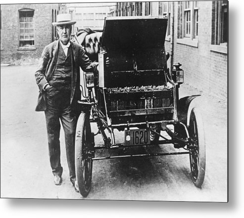 Physicist Metal Print featuring the photograph Electric Car by General Photographic Agency